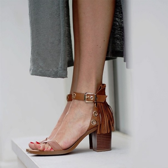 55b85c879ef  Zara  Tan Leather Tasseled Block Heels Sandals. M 5b3eb0edf63eeaa888bd191a